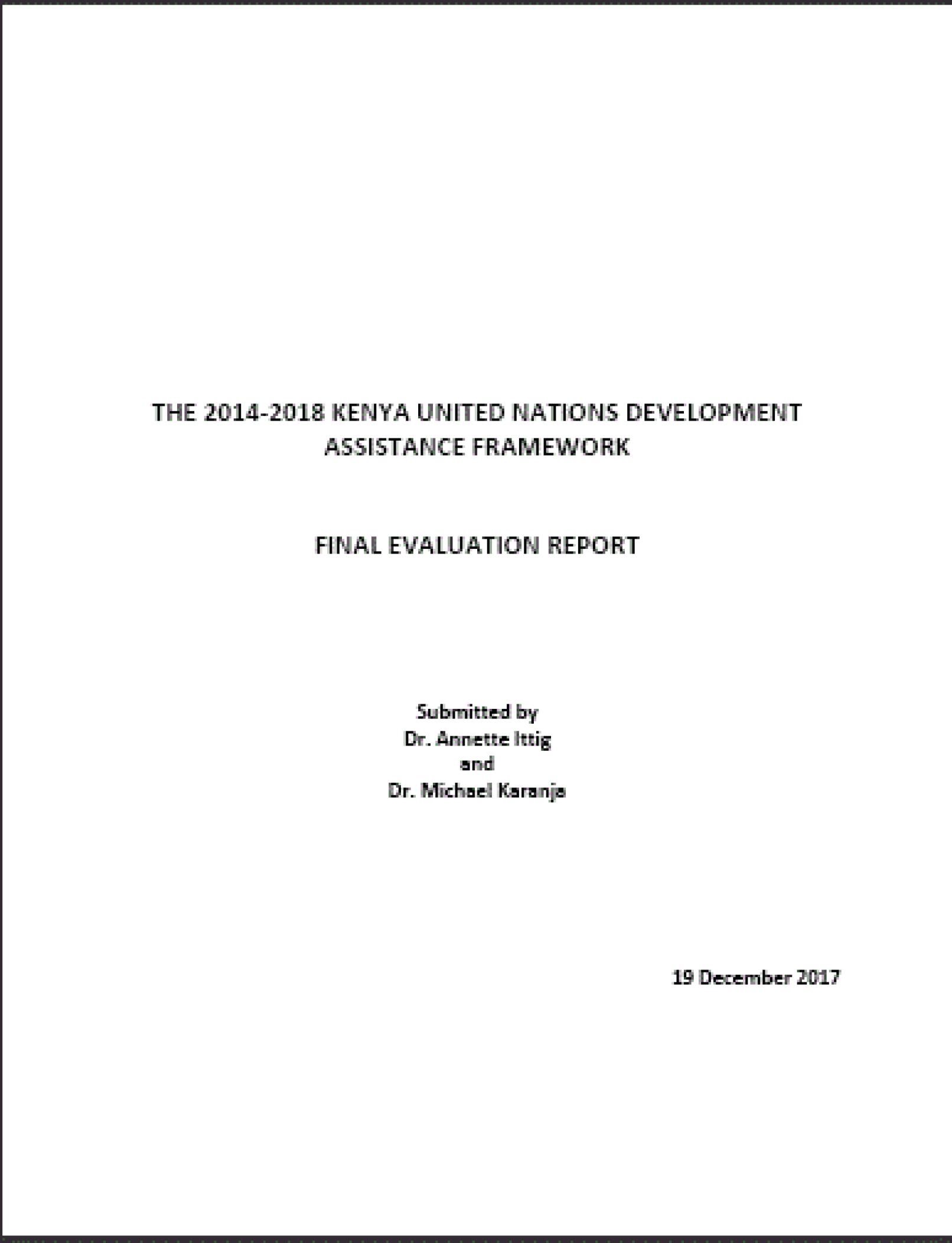 UNDAF 2014 – 2018 Final Evaluation Report