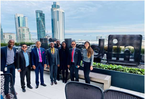 The Government of Kenya and the UN Kenya team with their hosts on the roof of the LinkedIn HQ in San Francisco on 21 Jan 2019.